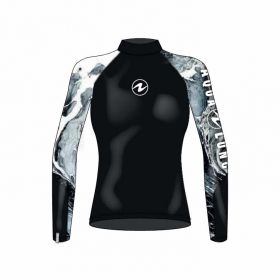 Aqualung Rash Guard Camiseta Manga Larga Negra Mujer